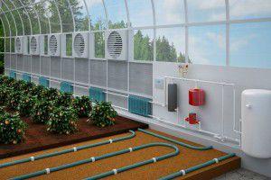 Схема отопления в теплице