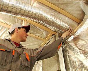 Монтаж вентиляционного воздуховода в подвале