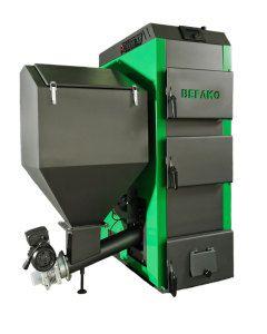 Большой бункер автоматизированного отопительного котла обеспечивает длительное горение угля