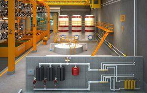 Пример водяного отопления производства