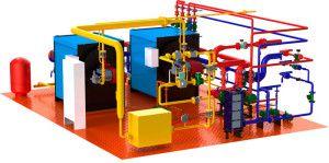 Схематическое изображение устройства котельной для производственного отопления