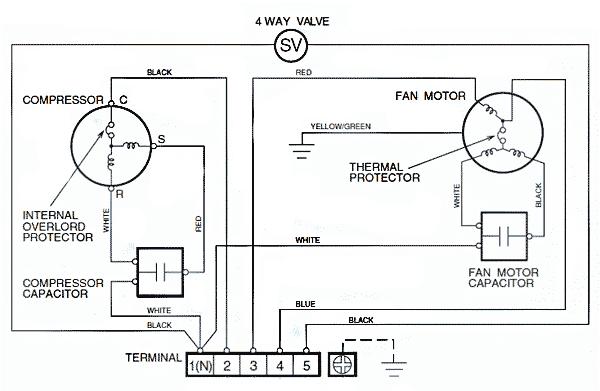 принципиальная электрическая схема соединений наружного блока не инверторного кондиционера LG