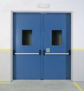 двойные противопожарные двери с остеклением