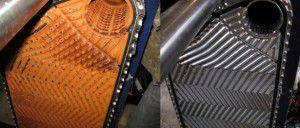 Теплообменник котла до и после очистки