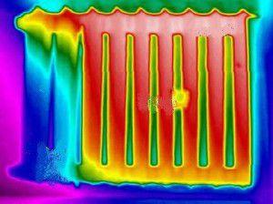 Работа чугунного радиатора через тепловизор