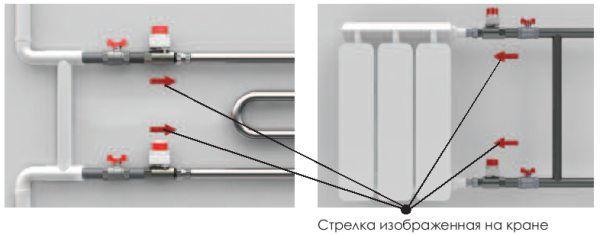 Схема установки крана для