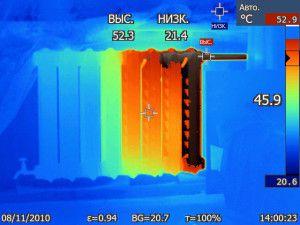 Замер температуры нагрева радиатора с помощью тепловизора
