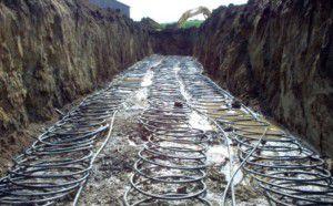 Установка горизонтального контура геотермального отопления