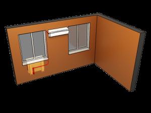 сплит-система в комнате с двумя окнами