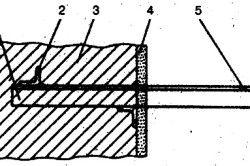 Крепеж вентиляции горизонтального расположения, кронштейнами к стене: 1 – кронштейн 2 – уголок 3 – стенка 4 – слой штукатурки 5 – отверстие для подвески.