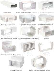 Основные элементы пластиковой системы вентиляции