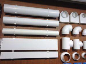 Виды пластиковых воздуховодов и переходников.