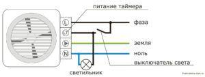 Схема подключения через освещение