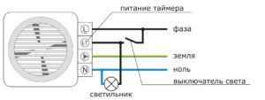 Схема электропитания вентилятора для ванной