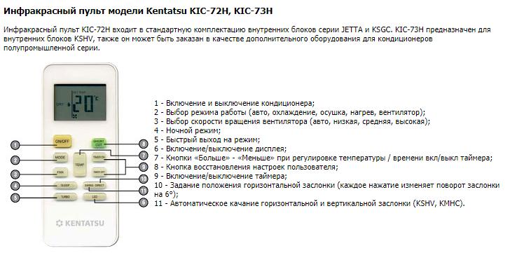 кондиционер кентатсу инструкция к пульту kic-72h