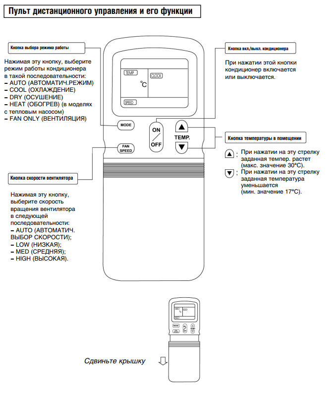 кондиционер general climate инструкция к пульту ar-je5