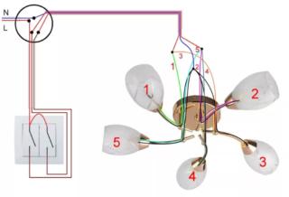 Как подключить люстру с 6 лампами к двойному выключателю